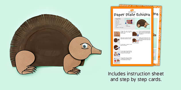 Paper Plate Echidna Craft - australia, paper plate, echidna, craft, animal