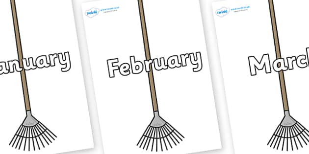 Months of the Year on Garden Rakes - Months of the Year, Months poster, Months display, display, poster, frieze, Months, month, January, February, March, April, May, June, July, August, September