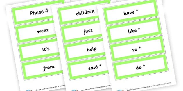 Phase 4 High Frequency Words Cards - Phase 4 Visual Aids Primary Resources, Phase One, Letters, sounds