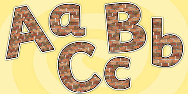 Brick Themed Size Editable Display Lettering - brick, size editable, editable, lettering, display lettering, brick lettering, brick themed letters, letters