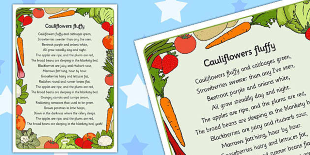 Cauliflowers Fluffy Lyrics Activity Sheet Cauliflower