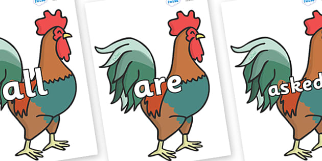 Tricky Words on Cockerels - Tricky words, DfES Letters and Sounds, Letters and sounds, display, words
