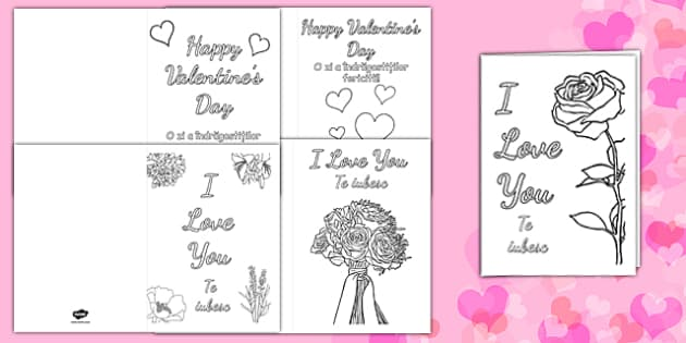 Valentine's Day Card Colouring Templates Romanian Translation - romanian, Valentine's Day, Valentine, love, Saint Valentine, heart, kiss, colouring, fine motor skills, poster, worksheet, vines, A4, display,  cupid, gift, roses, card, flowers, date, l