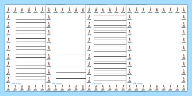 Lighthouse Portrait Page Borders- Portrait Page Borders - Page border, border, writing template, writing aid, writing frame, a4 border, template, templates, landscape
