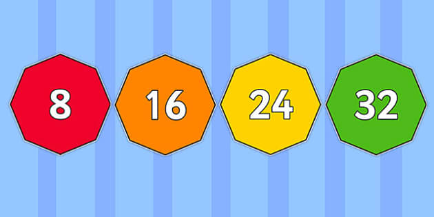 Multiples of 8 on Octagons - multiples, 8, octagons, shapes, maths