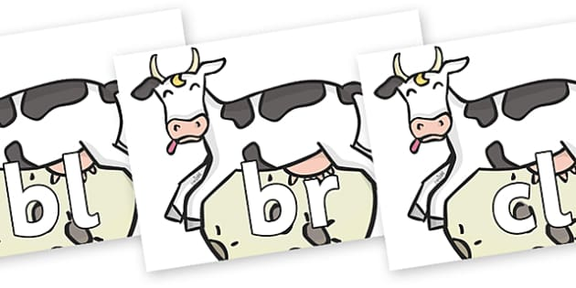 Initial Letter Blends on Cow and Moon - Initial Letters, initial letter, letter blend, letter blends, consonant, consonants, digraph, trigraph, literacy, alphabet, letters, foundation stage literacy