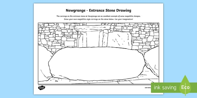 Newgrange, Entrance Stone Activity Sheet - ROI Places of Interest, tourism, history, geography, ireland,work sheet, entrance stone, megalithic