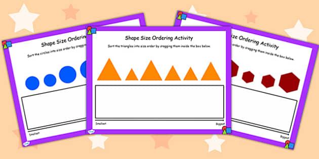 Shape Size Ordering Activity for IWB - shape, size, order, IWB