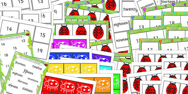 Ladybird Number Bond Bingo and Lotto Pack 10 to 20 - bingo, lotto