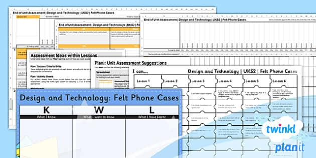 PlanIt - DT UKS2 - Felt Phone Cases Unit Assessment Pack - planit, assessment, pack
