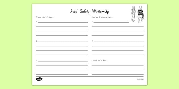 New Zealand Road Safety Week Write Up Worksheet