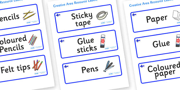Finland Themed Editable Creative Area Resource Labels - Themed creative resource labels, Label template, Resource Label, Name Labels, Editable Labels, Drawer Labels, KS1 Labels, Foundation Labels, Foundation Stage Labels