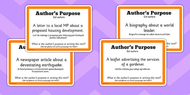 Guided Reading Skills Task Cards Author's Purpose Polish Translation - english, literacy, group work, infer, understand, listen, speak, challenge, activity,