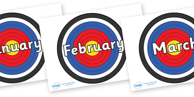 Months of the Year on Archery Targets - Months of the Year, Months poster, Months display, display, poster, frieze, Months, month, January, February, March, April, May, June, July, August, September