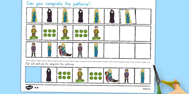 Rapunzel Complete the Pattern Worksheets - australia, rapunzel
