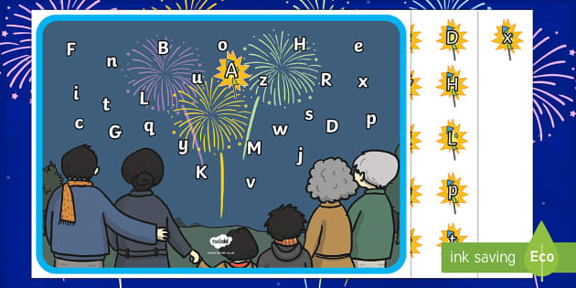 Fireworks Capital and Lower Case Letter Matching Activity