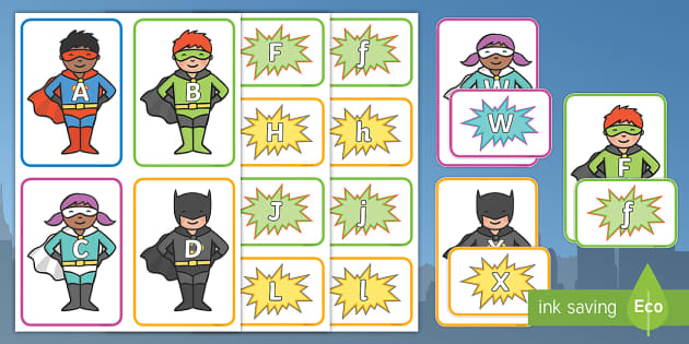 Superhero Themed Letter Match - superhero, letter match, superhero themed letter match, superhero letter matching, letter matching, hero themed