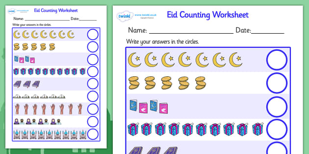 Eid Counting Worksheet - Eid, counting worksheet, eid themed, eid themed counting worksheet, eid counting sheet