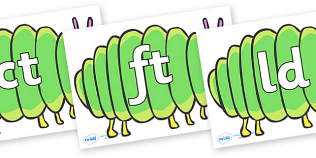 Final Letter Blends on Fat Caterpillars to Support Teaching on The Very Hungry Caterpillar - Final Letters, final letter, letter blend, letter blends, consonant, consonants, digraph, trigraph, literacy, alphabet, letters, foundation stage literacy