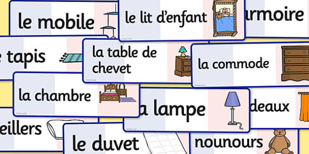 French Bedroom Words Flashcards - french, bedroom, words, cards