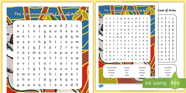 Commonwealth Coat of Arms Word Search - commonwealth, coat of arms, australia, australian coat of arms, coat of arms, government, Australia
