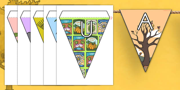 Autumn Display Lettering Bunting - seasons, weather, flags