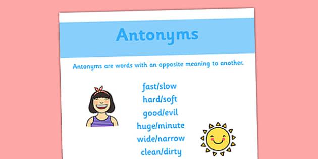 Antonym Display Poster - antonym, display poster, display, poster, literacy, english