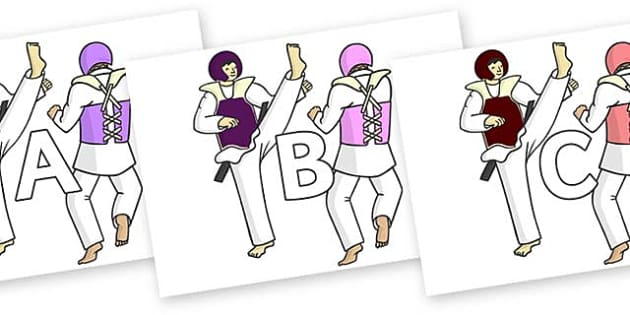 A-Z Alphabet on Karate - A-Z, A4, display, Alphabet frieze, Display letters, Letter posters, A-Z letters, Alphabet flashcards