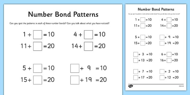 Number Bond Patterns Activity Sheet, worksheet