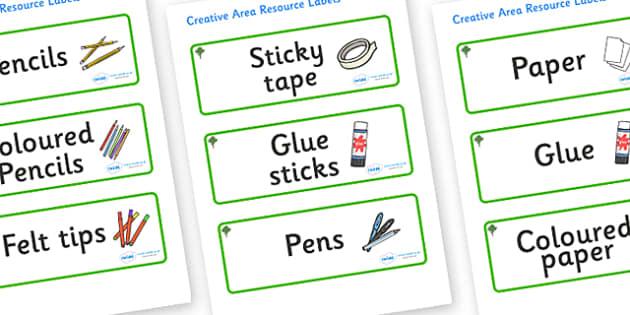 Katsura Tree Themed Editable Creative Area Resource Labels - Themed creative resource labels, Label template, Resource Label, Name Labels, Editable Labels, Drawer Labels, KS1 Labels, Foundation Labels, Foundation Stage Labels