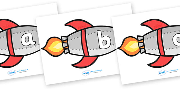 A-Z Alphabet on Rockets (lowercase) - Rocket, topic, space, Alphabet frieze, Display letters, Letter posters, A-Z letters, Alphabet flashcards, moon, stars, planet, planets