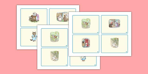 Beatrix Potter - The Tale of Tom Kitten Story Sequencing Cards - beatrix potter, tom kitten