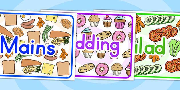Mains Pudding Salad Display Posters - food display, food, meals