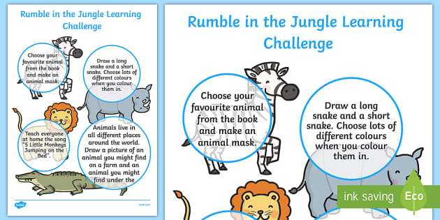 Rumble in the Jungle EYFS Home Learning Challenge Sheet Nursery FS1 - rumble in the jungle