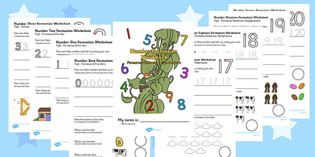Jack and the Beanstalk Number Formation Workbook Romanian Translation - romanian