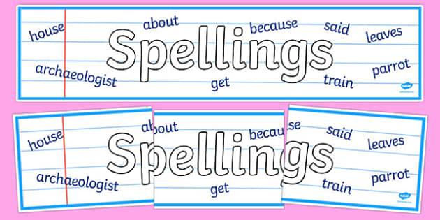 Spellings Display Banner - spelling, spell, how to spell, display, banner, sign, poster, spellings, KS2, literacy