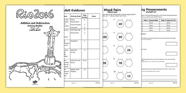 Year 2 Rio Olympics Addition And Booklet Arabic Translation - 2016 Rio Olympics, maths, KS1, Year 2, challenges, problem, solve, reason, predict, word problem, add, addition, plus, total, altogether, sum of, greater than, more than, subtract, subtrac