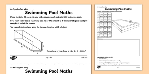 Swimming Pool Maths Activity Sheet - amazing fact a day, activity sheet, activity, activities, swimming pool, worksheet