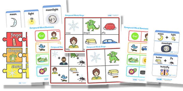 Compound Words Resource Pack - compound words, resource pack, compound words resources, games, activities, bingo, words, literacy, english, writing