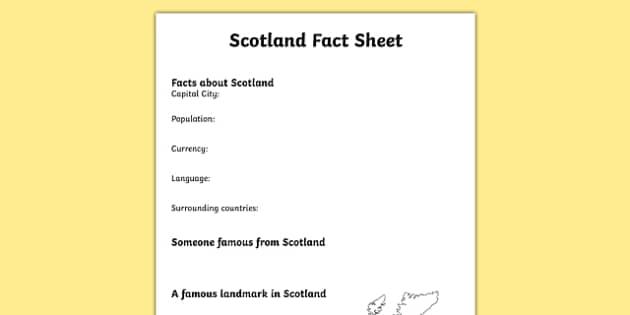 Scotland Factsheet Writing Template - scotland, scotland fact sheet, scotland fact file, scotland worksheet, united kingdom, uk, ks2 geography, ks2 places