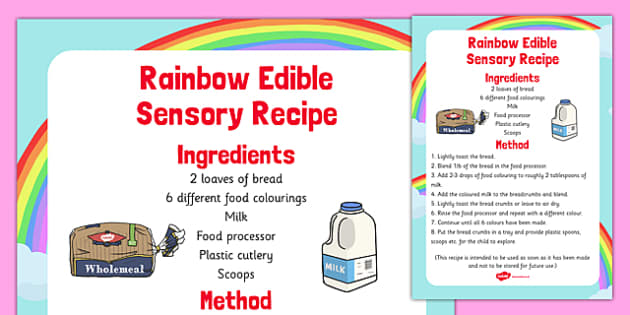 Rainbow Edible Sensory Recipe - rainbow, edible, sensory, recipe, colour