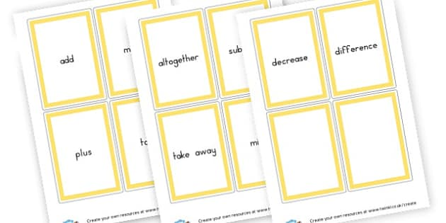 Addition and Subtraction Word Cards - Numeracy Primary Resources, Numeracy, maths, numbers, counting