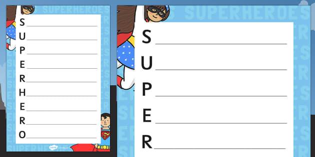Superhero Themed Acrostic Poem - superheroes, poetry, acrostic