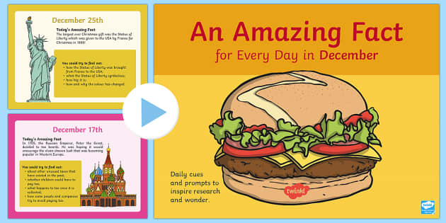 An Amazing Fact a Day December PowerPoint - amazing fact, fact a day, amazing, fact, december, month