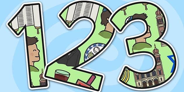 Judaism Themed A4 Display Numbers-judaism, themed, A4, display numbers, display, numbers, numbers for display, judaism lettering, jewish, judiasm