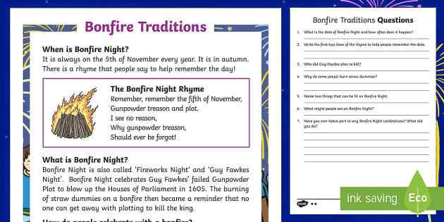 KS1 Bonfire Traditions Differentiated Reading Comprehension Activity