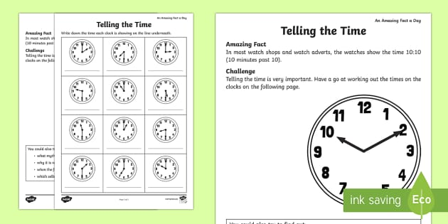 Telling the Time Activity Sheet - Amazing Fact Of The Day