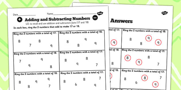 Number Facts to 20 Find Pairs to 17 and 18 Worksheet - number