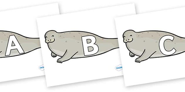 A-Z Alphabet on Seals - A-Z, A4, display, Alphabet frieze, Display letters, Letter posters, A-Z letters, Alphabet flashcards