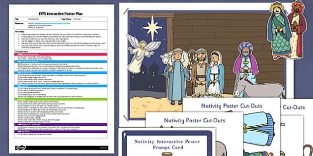 Nativity Scene EYFS Interactive Poster Plan and Resource Pack - nativity, scene, eyfs, interactive, poster, display